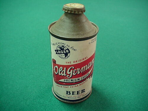 Old German Premium Beer 12 oz. cone top beer can from Cumberland, Maryland