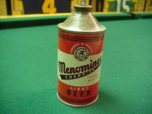 Menominee Beer 12 Oz. Cone Top Beer Can. Very Good Shape!