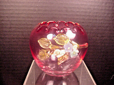 Antique Cranberry Rose Bowl Vase Applied Glass Flowers Hand Blown 1800's