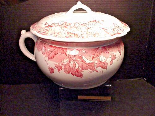 Johnson Bros Antique Chamber Pot & Lid Hop Pink Pattern Semi Porcelain England