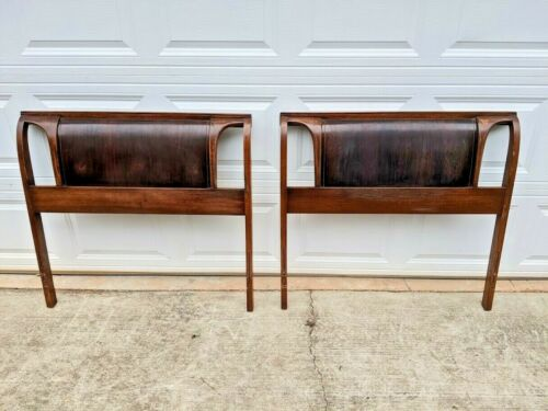 (2) Kent Coffey WALNUT & ROSEWOOD Mid Century Modern Twin Headboards (PAIR)