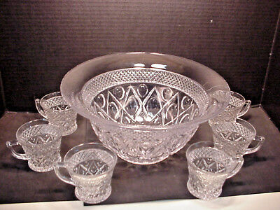 Imperial Cape Cod Punch Bowl 6 Cups Mugs No Chips