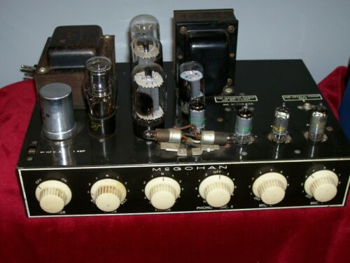 VINTAGE McGOHAN TUBE AMP ADAPTED FOR GUITAR , HARP , NEW CAPS , TUBES . NICE.