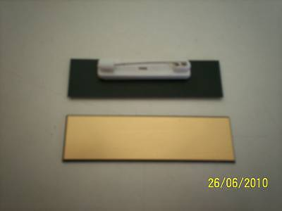 10 Goldblack Blank Name Badges Tags With Pins.