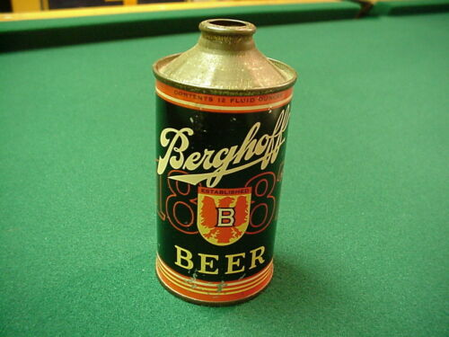 BERGHOFF 1887 LOW PROFILE CONE TOP BEER CAN ~ FORT WAYNE, INDIANA.