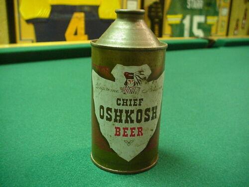 Chief Oshkosh Beer 12 oz. cone top from Oshkosh, Wisconsin