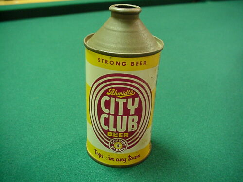 """CLEAN """"STRONG"""" SCHMIDT CITY CLUB CONE TOP BEER CAN!"""