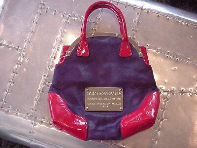 Dolce & Gabbana Borsa A Mano Purple Pony & Red Patent Leather Handbag (Dolce And Gabbana Purple Purse)