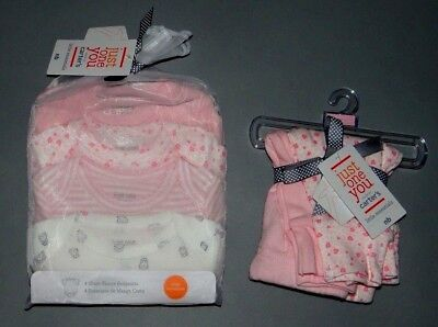 Baby girl clothes, Preemie, Carter's 4 bodysuits, 2 matching pants