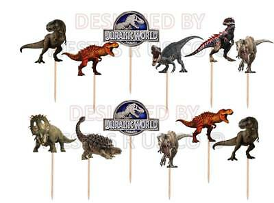 Jurassic World Cupcake Toppers 12 or 24 pc. Party Supplies. Made from card - Cupcake Card