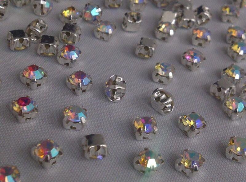 CraftbuddyUS 100pcs 4.3mm AB Clear Silver Set Sew On Glass Crystal Rhinestones
