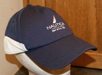 Vtg NAUTICA J CLASS SAIL RACING NYC Blue White Strap Hat Cap Boating Golf Light