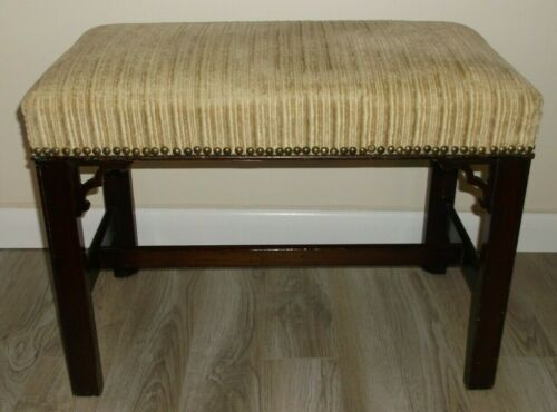 ANTIQUE ENGLISH CHIPPENDALE STYLE VINTAGE BENCH WITH NAIL HEADS