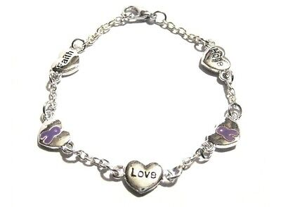 Hope Faith Love Lavender Ribbon Bracelet Epilepsy Hodgkins Lymphoma Awareness