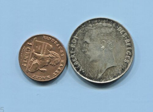 BELGIUM - 2 FANTASTIC HISTORICAL ALBERT COINS: 1911 SILVER FRANC, 1912 CENT