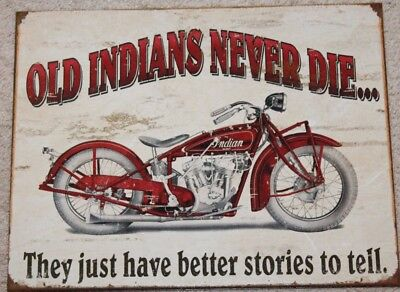 Old Indian Motorcycle Never Die Metal Tin Ad Sign Picture Harley Bar Cave Gift