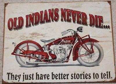 Indian Motorcycle Picture Metal Ad Sign Never Die Garage Bike Shop Bar Decor