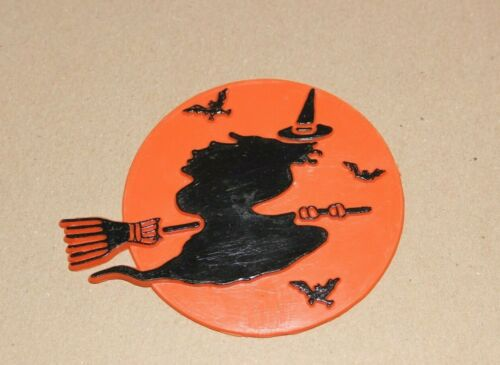 Vintage Halloween Cake Topper Witch on Broom Orange Moon