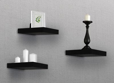Sorbus Floating Shelves  Solid Square Shaped Hanging Wall Shelves Set of 3 Black