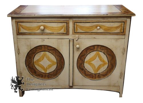 Early American Primitive Hand Painted Country Chest Buffet Cabinet Rustic Consol