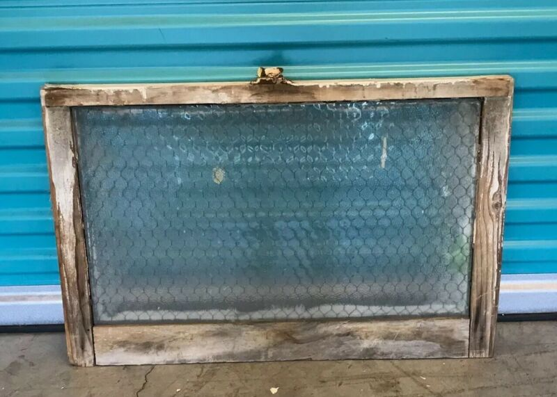 Vintage Window with Chicken Wire Safety Security Glass