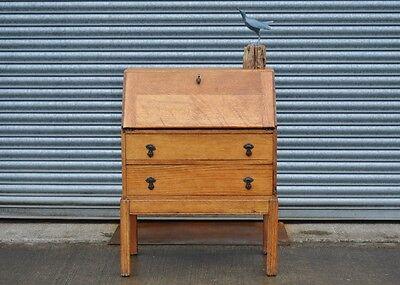 Vintage Solid Oak Bureau Writing Desk with Drawers.
