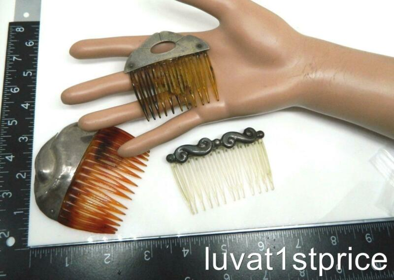 set of 3 Antique Vintage Hair Combs Sterling 925 Silver Tops with Celluloid