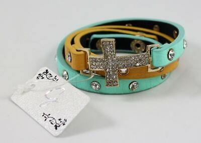 Dual Tone Cross - Crystal Cross Dual Tone Triple Wrap Leatherette Bracelet Turquoise & Tan