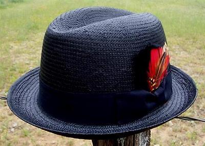 NEW Black Men's GODFATHER Straw HOMBURG Fedora Gangster Kid Rock n Roll - Adult Black Gangster Hat