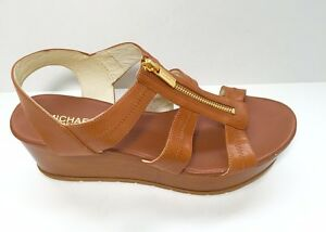 Michael Michael Kors Women's Berkley T Strap Wedge Sandal Front Gold Tone Zipper