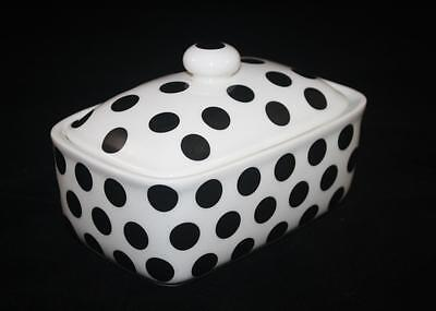 BUTTER DISH POLKA DOT BLACK FINE BONE CHINA HAND DECORATED IN STOKE ON TRENT NEW
