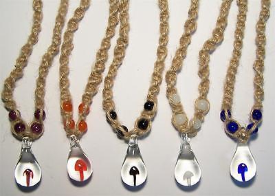 12 Asst Glass Mushroom Hemp Necklace W Colored Beads Mens...