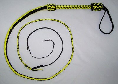 6 Foot 16 Plait Black&Yellow NYLON Well-weighted  SHOT LOADED Real Bullwhip whip