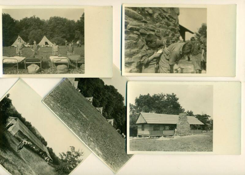 LOT of 5, VINTAGE BOY SCOUTS of AMERICA SCOUT CAMP VIEWS 2 SNAPSHOTS & 3 RPPC s