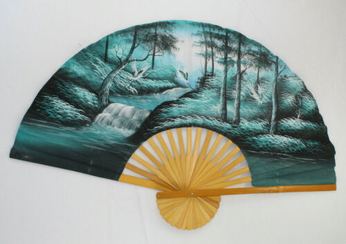 Large Asian Folding Hanging Wall Fan -- 39 x 24 - Forest Cranes Scene Thailand