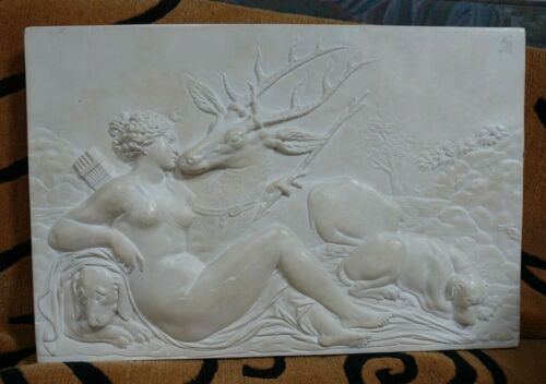 shlf VINTAGE LOUVRE MUSEUM REPRODUCTION ANCIENT GREEK FRIEZE ARTEMIS & STAG 17""