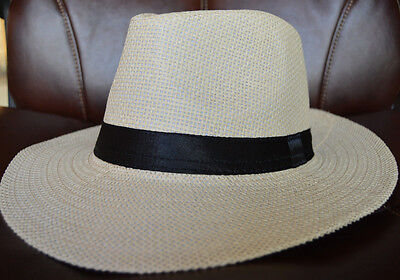 f951af1301a1c9 Fashion Summer Cool Panama Wide brim Fedora Straw Made Indiana Jones Style  Hat 5 Styles