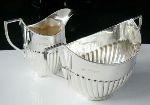 Immaculate Sterling Silver Sugar & Cream, Semi Fluted Design, London 1904