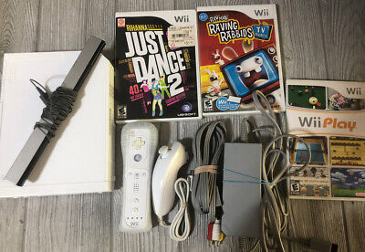 Nintendo Wii Console System Bundle W Cords Controller & 3 Games Just Dance, Play