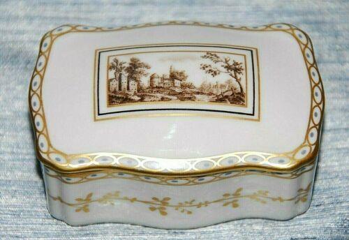 Richard Ginori Fiesole Italian Landscape Small Scalloped Porcelain Trinket Box