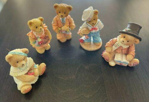 Enesco Cherished Teddies (5 Lot) Figurines Bear Cratchit Winona Bob Barbara Rick