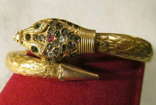 Antique Victorian VINTAGE Gold Filled Snake Bangle Bracelet Designed M.H & CO