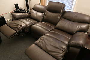 Electric Reclining Leather Couch and 2x Armchairs Annandale Leichhardt Area Preview