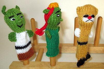 in boots cat Hand Knit fingerpuppet PERU Folk art Handmade (Fiona In Shrek)