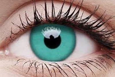 Crazy Contact Lens Lentilles Kontaktlinsen Fun Emerald green Party Halloween UK ()
