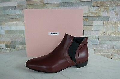 MIU MIU Gr 39 Ankle Boots Stiefeletten booties 5T9336 rot red NEU ehem UVP 580 €