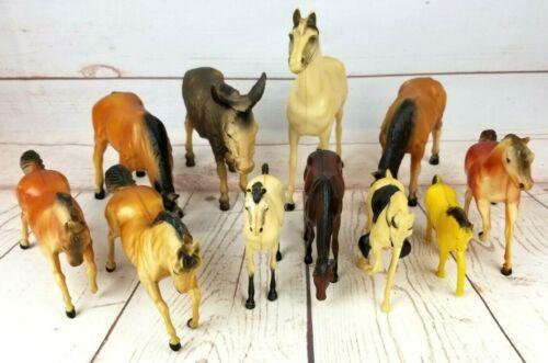 "Vintage Molded Plastic Horse Figures 3""-9"" Stamped Heartland, Hong Kong, Canada"