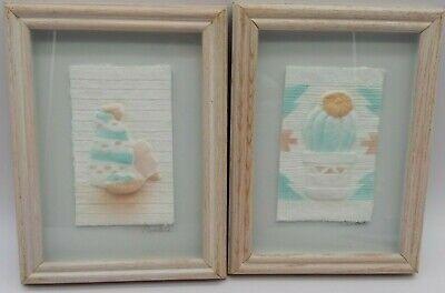 Lot of 2 FIGI GRAPHICS Hand Cast Paper Southwest 3-D Wall 8