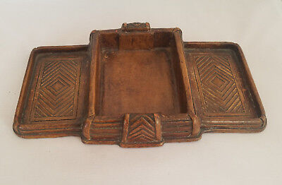 Vintage Syroco Wood Carved Tiki Style Card Holder Desk Office Organizer