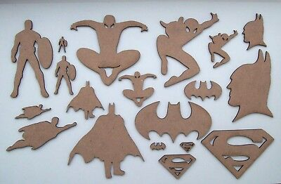 MDF Comic Book Hero Cut Out Shapes Batman, Superman, Spiderman, Captain America ()